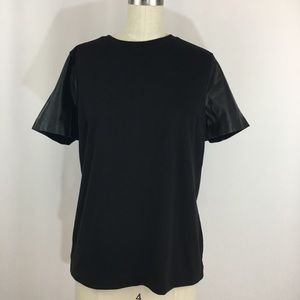 J. Crew Leather Sleeves T shirt Top
